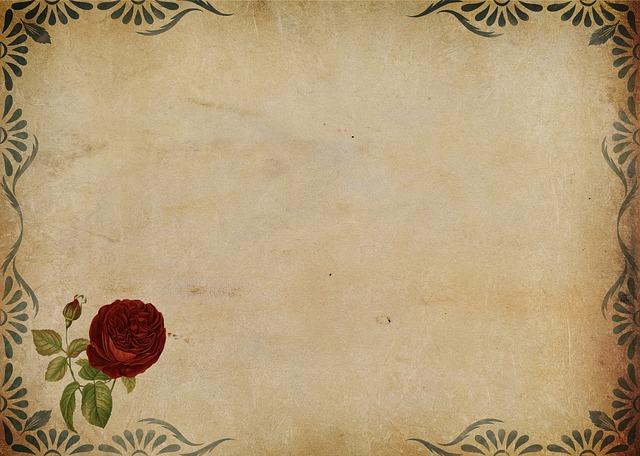 papír (má jiný design, než bílý) s rámečkem a květinovou dekorací