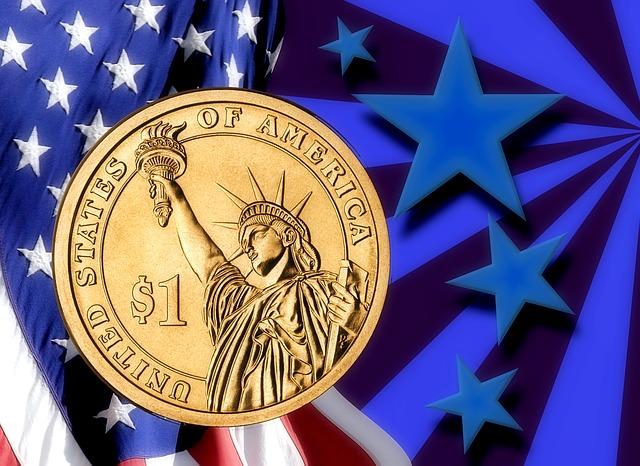 jeden dolar – mince, americká vlajka
